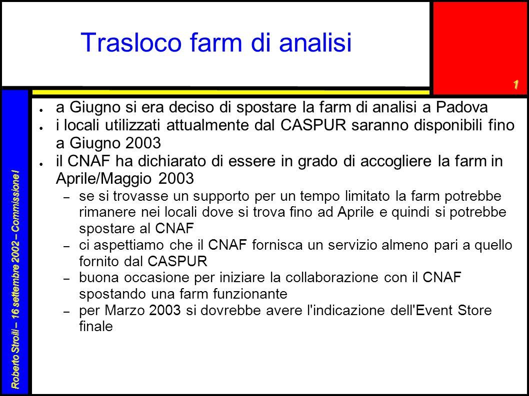 1 Roberto Stroili – 16 settembre 2002 – Commissione I Trasloco farm di analisi ● a Giugno si era deciso di spostare la farm di analisi a Padova ● i lo