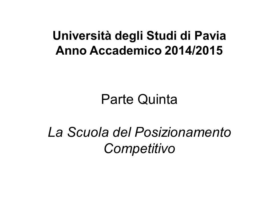 Università degli Studi di Pavia Anno Accademico 2014/2015 Parte Quinta La Scuola del Posizionamento Competitivo