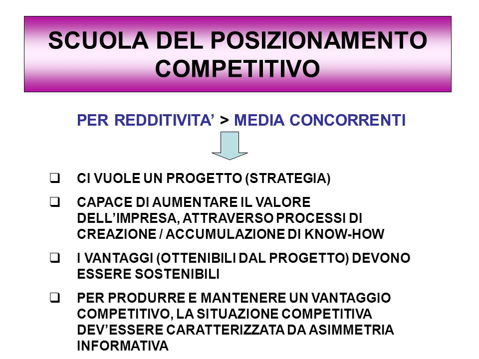 SCUOLA DEL POSIZIONAMENTO COMPETITIVO PER REDDITIVITA' > MEDIA CONCORRENTI  CI VUOLE UN PROGETTO (STRATEGIA)  CAPACE DI AUMENTARE IL VALORE DELL'IMPRESA, ATTRAVERSO PROCESSI DI CREAZIONE / ACCUMULAZIONE DI KNOW-HOW  I VANTAGGI (OTTENIBILI DAL PROGETTO) DEVONO ESSERE SOSTENIBILI  PER PRODURRE E MANTENERE UN VANTAGGIO COMPETITIVO, LA SITUAZIONE COMPETITIVA DEV'ESSERE CARATTERIZZATA DA ASIMMETRIA INFORMATIVA