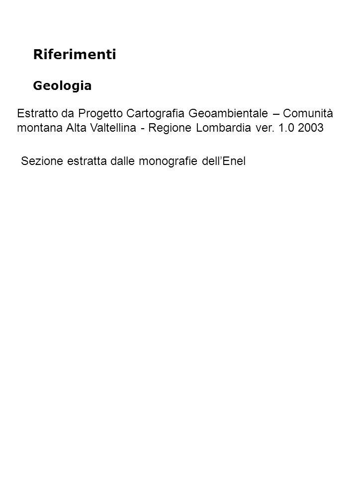 Riferimenti Geologia Estratto da Progetto Cartografia Geoambientale – Comunità montana Alta Valtellina - Regione Lombardia ver.