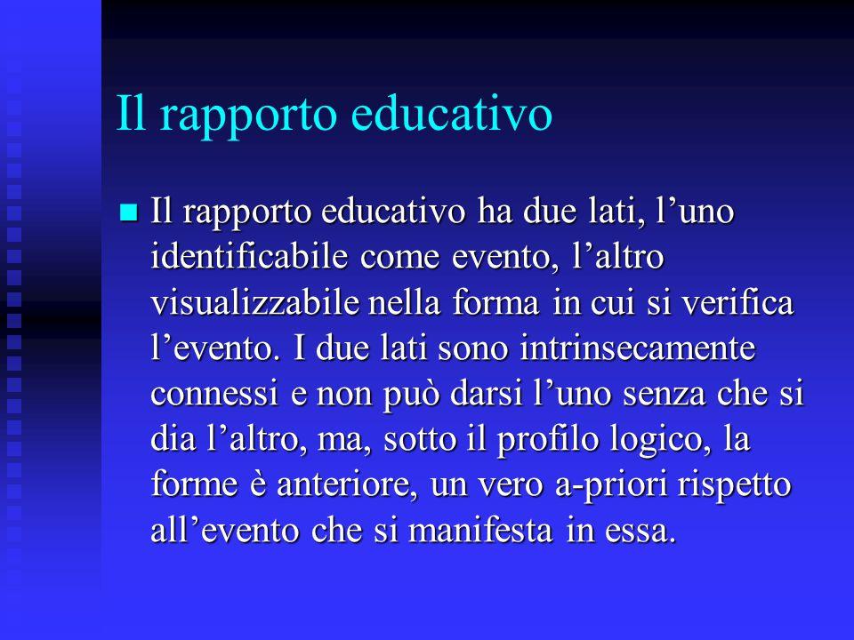 Il rapporto educativo Il rapporto educativo ha due lati, l'uno identificabile come evento, l'altro visualizzabile nella forma in cui si verifica l'eve