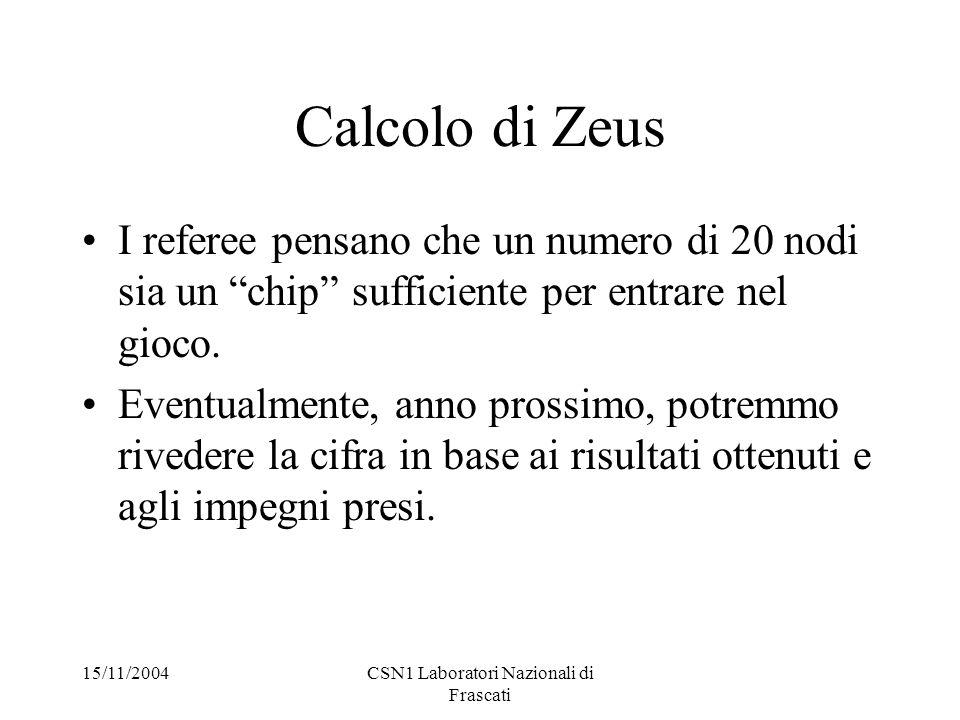 15/11/2004CSN1 Laboratori Nazionali di Frascati Calcolo di Zeus I referee pensano che un numero di 20 nodi sia un chip sufficiente per entrare nel gioco.