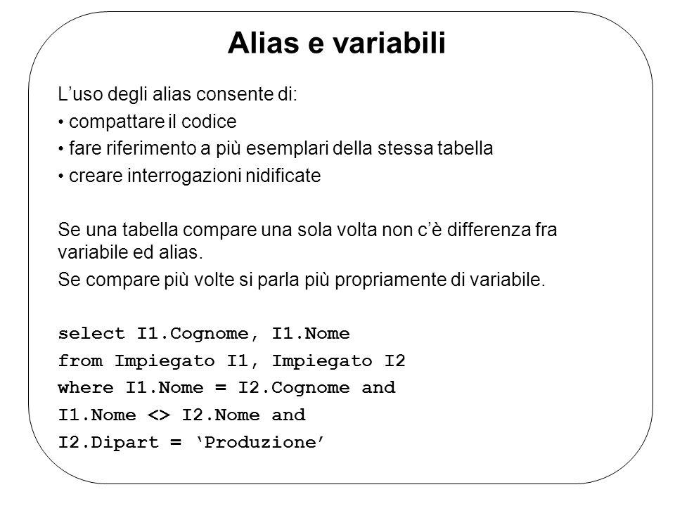 Alias e variabili L'uso degli alias consente di: compattare il codice fare riferimento a più esemplari della stessa tabella creare interrogazioni nidificate Se una tabella compare una sola volta non c'è differenza fra variabile ed alias.