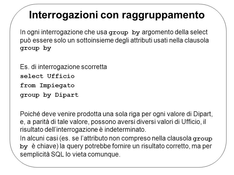 Interrogazioni con raggruppamento In ogni interrogazione che usa group by argomento della select può essere solo un sottoinsieme degli attributi usati nella clausola group by Es.