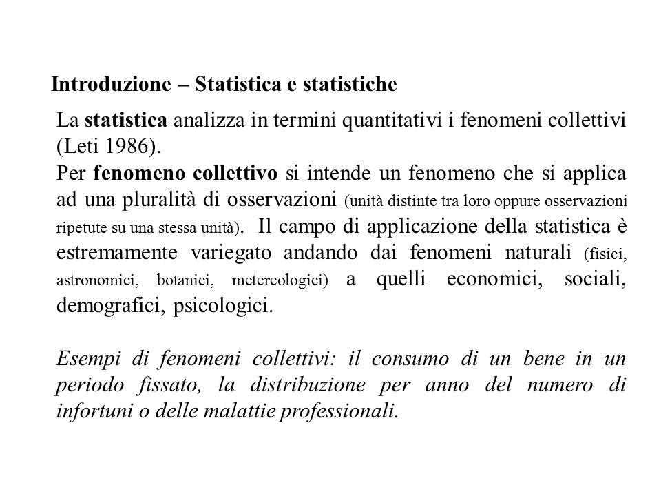 Introduzione – Statistica e statistiche La statistica analizza in termini quantitativi i fenomeni collettivi (Leti 1986).