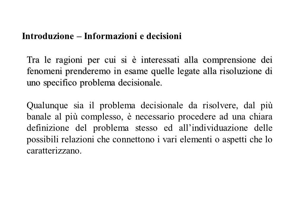 Tra le ragioni per cui si è interessati alla comprensione dei fenomeni prenderemo in esame quelle legate alla risoluzione di uno specifico problema decisionale.