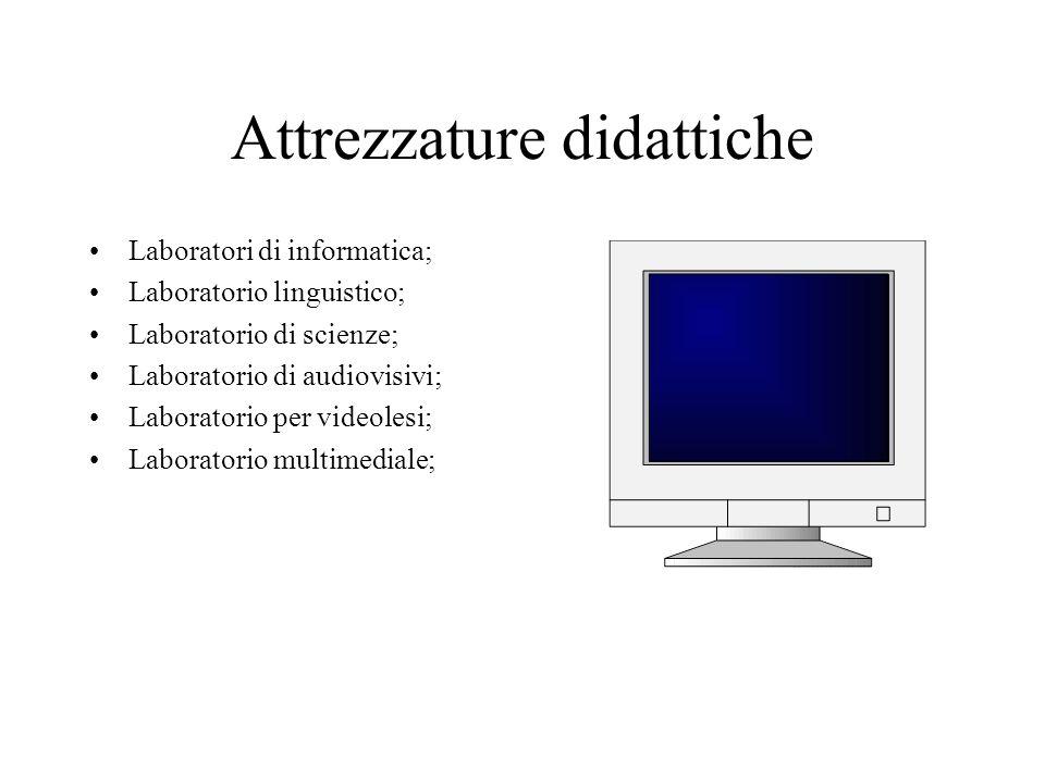 Attrezzature didattiche Laboratori di informatica; Laboratorio linguistico; Laboratorio di scienze; Laboratorio di audiovisivi; Laboratorio per videolesi; Laboratorio multimediale;