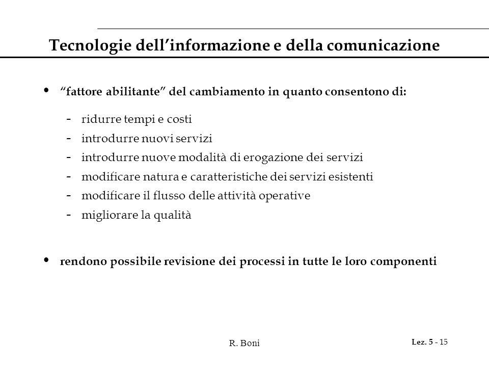 """R. Boni Lez. 5 - 15 Tecnologie dell'informazione e della comunicazione """"fattore abilitante"""" del cambiamento in quanto consentono di: - ridurre tempi e"""