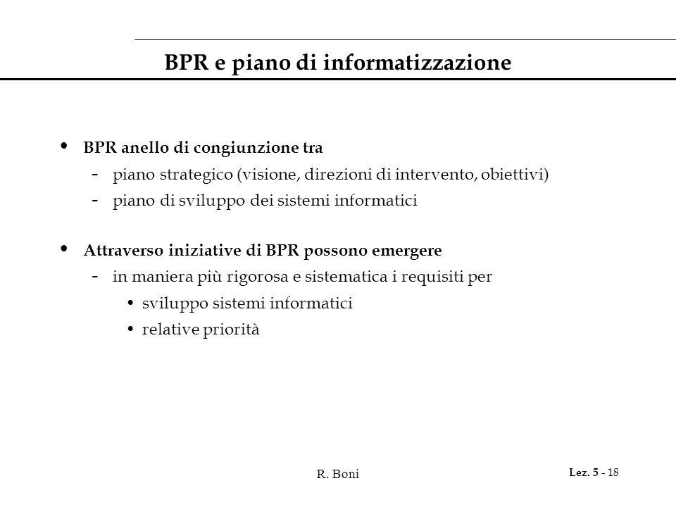 R. Boni Lez. 5 - 18 BPR e piano di informatizzazione BPR anello di congiunzione tra - piano strategico (visione, direzioni di intervento, obiettivi) -