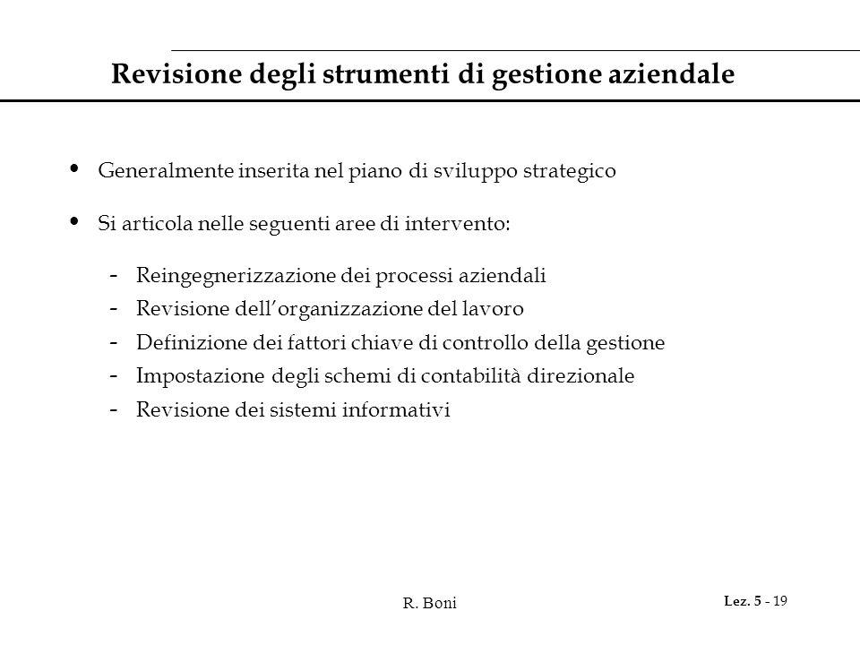 R. Boni Lez. 5 - 19 Revisione degli strumenti di gestione aziendale Generalmente inserita nel piano di sviluppo strategico Si articola nelle seguenti