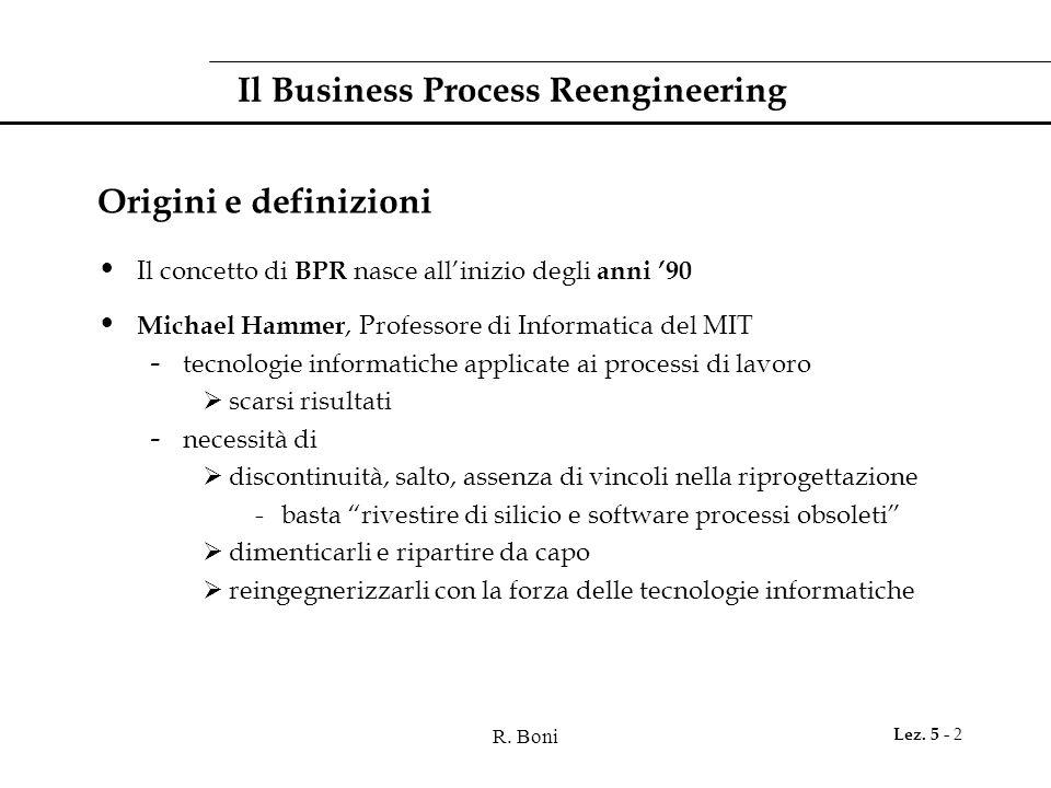 R. Boni Lez. 5 - 2 Il Business Process Reengineering Origini e definizioni Il concetto di BPR nasce all'inizio degli anni '90 Michael Hammer, Professo