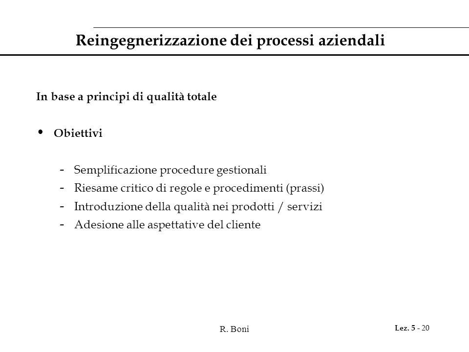 R. Boni Lez. 5 - 20 Reingegnerizzazione dei processi aziendali In base a principi di qualità totale Obiettivi - Semplificazione procedure gestionali -