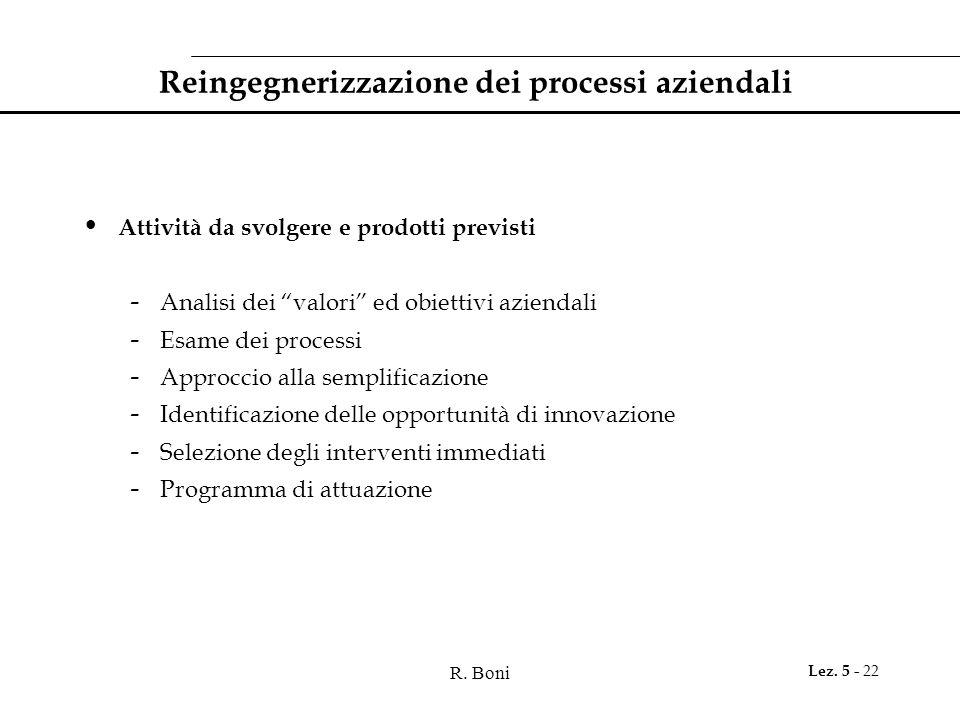 """R. Boni Lez. 5 - 22 Reingegnerizzazione dei processi aziendali Attività da svolgere e prodotti previsti - Analisi dei """"valori"""" ed obiettivi aziendali"""