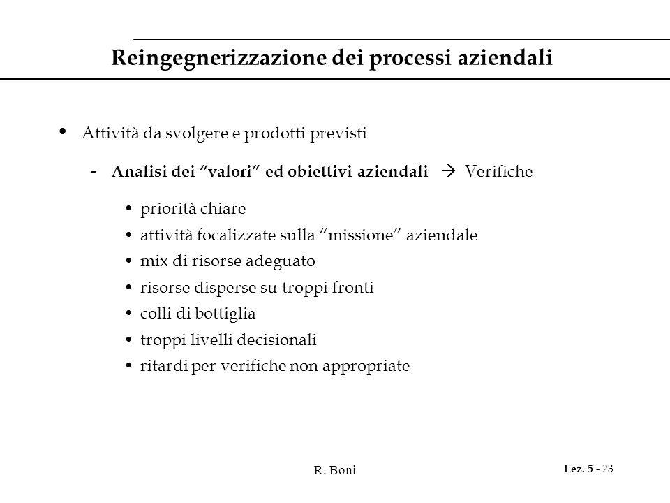 """R. Boni Lez. 5 - 23 Reingegnerizzazione dei processi aziendali Attività da svolgere e prodotti previsti - Analisi dei """"valori"""" ed obiettivi aziendali"""