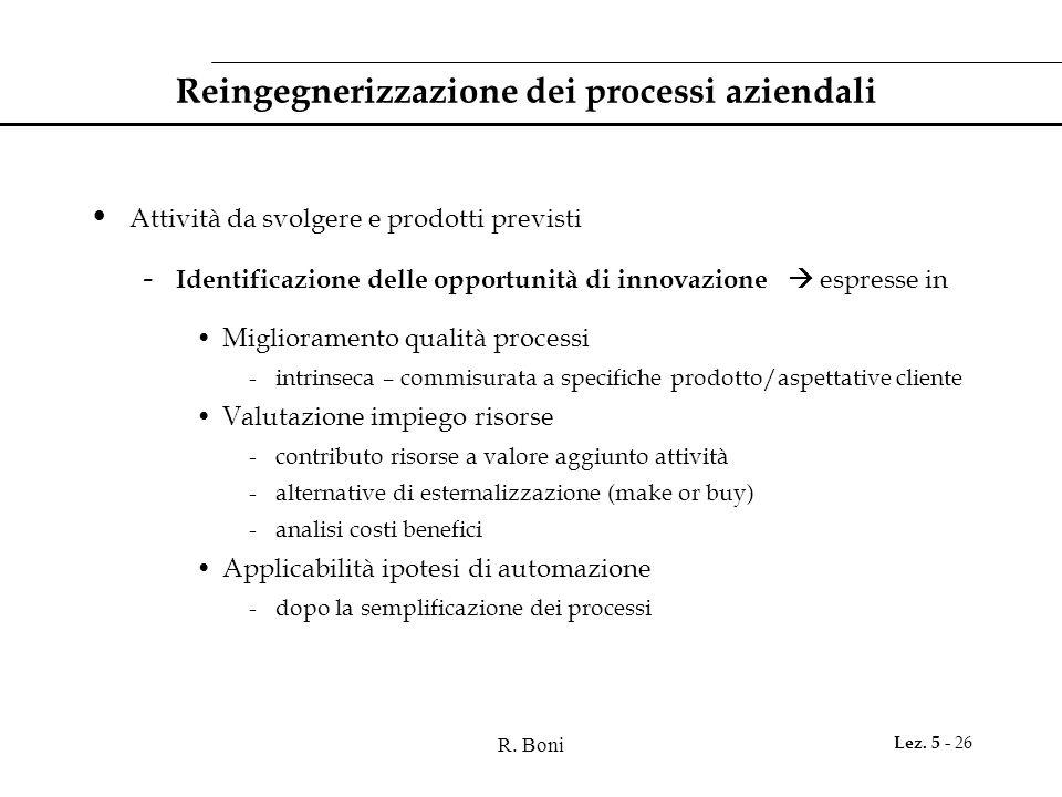 R. Boni Lez. 5 - 26 Reingegnerizzazione dei processi aziendali Attività da svolgere e prodotti previsti - Identificazione delle opportunità di innovaz