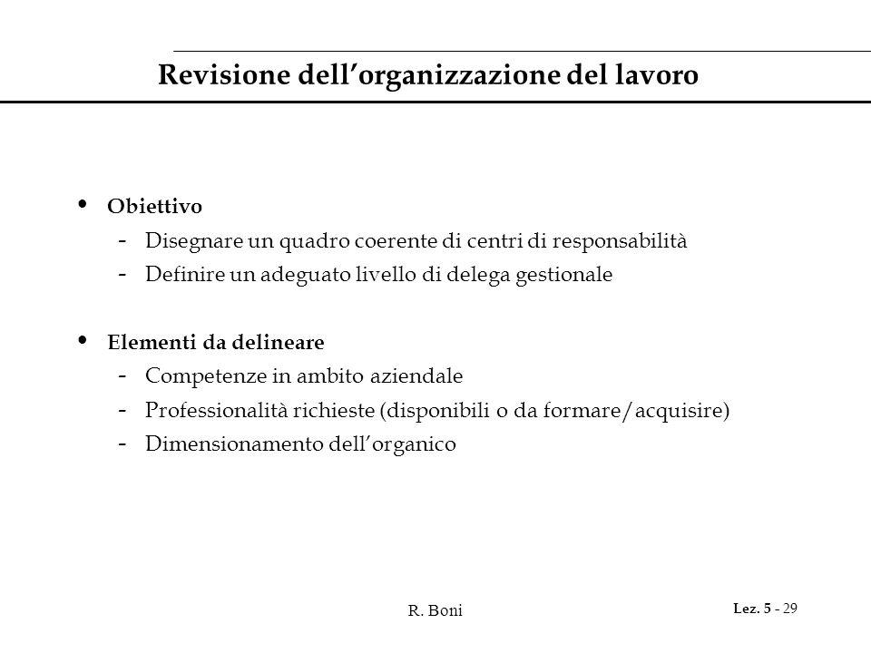 R. Boni Lez. 5 - 29 Revisione dell'organizzazione del lavoro Obiettivo - Disegnare un quadro coerente di centri di responsabilità - Definire un adegua