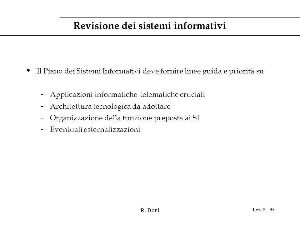 R. Boni Lez. 5 - 33 Revisione dei sistemi informativi Il Piano dei Sistemi Informativi deve fornire linee guida e priorità su - Applicazioni informati