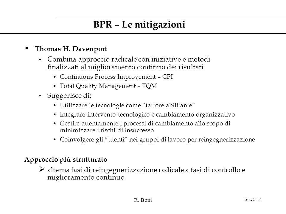 R. Boni Lez. 5 - 4 BPR – Le mitigazioni Thomas H. Davenport - Combina approccio radicale con iniziative e metodi finalizzati al miglioramento continuo