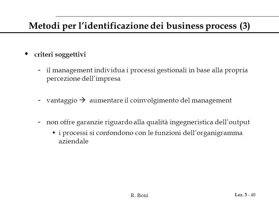 R. Boni Lez. 5 - 40 Metodi per l'identificazione dei business process (3) criteri soggettivi - il management individua i processi gestionali in base a