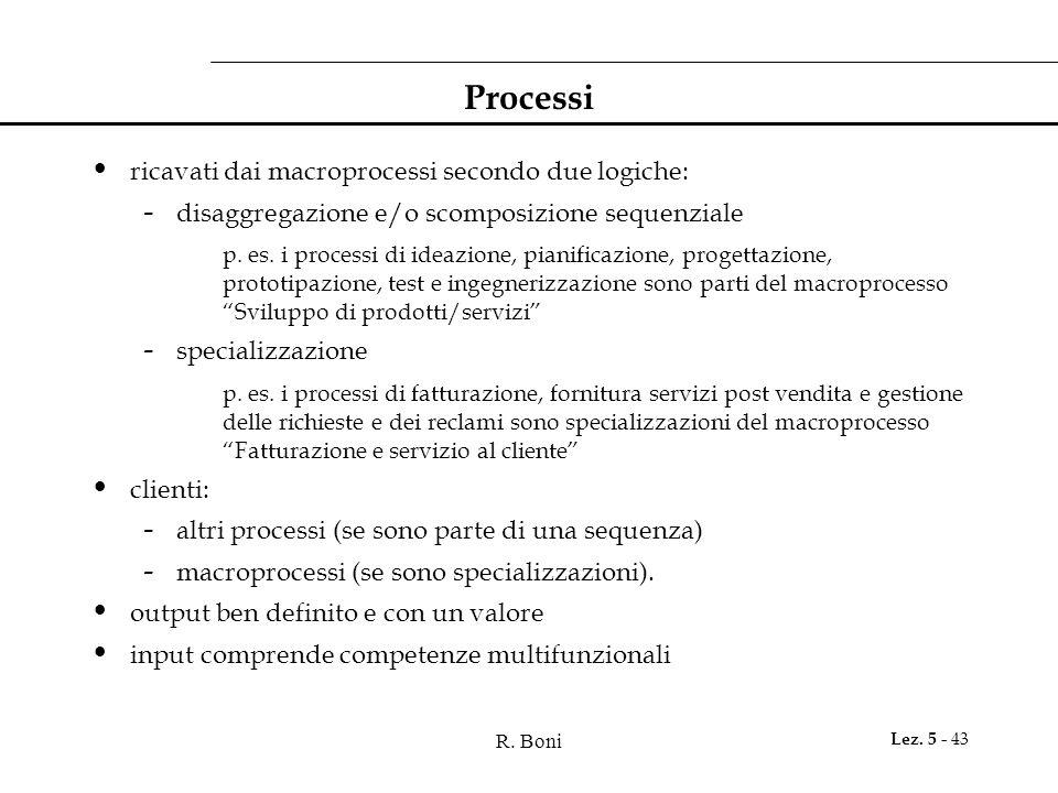 R. Boni Lez. 5 - 43 Processi ricavati dai macroprocessi secondo due logiche: - disaggregazione e/o scomposizione sequenziale p. es. i processi di idea