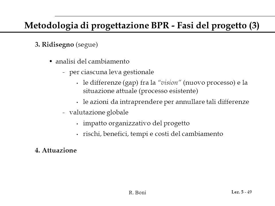 R. Boni Lez. 5 - 49 Metodologia di progettazione BPR - Fasi del progetto (3) 3. Ridisegno (segue) analisi del cambiamento -per ciascuna leva gestional
