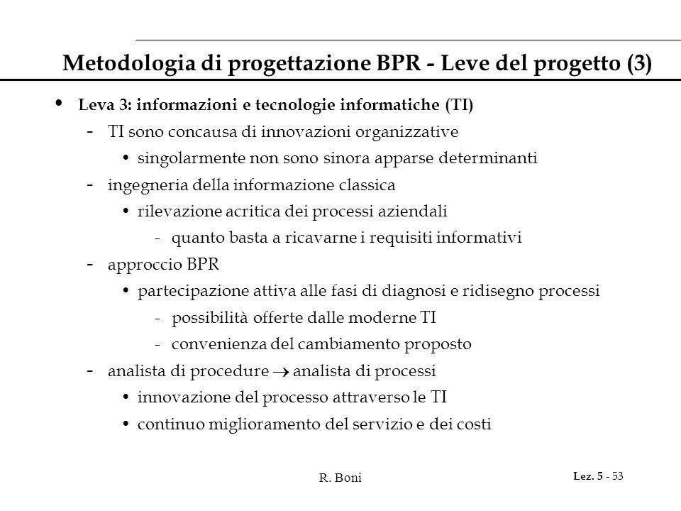 R. Boni Lez. 5 - 53 Metodologia di progettazione BPR - Leve del progetto (3) Leva 3: informazioni e tecnologie informatiche (TI) - TI sono concausa di