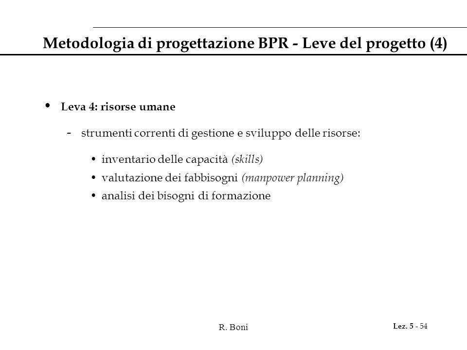 R. Boni Lez. 5 - 54 Metodologia di progettazione BPR - Leve del progetto (4) Leva 4: risorse umane - strumenti correnti di gestione e sviluppo delle r