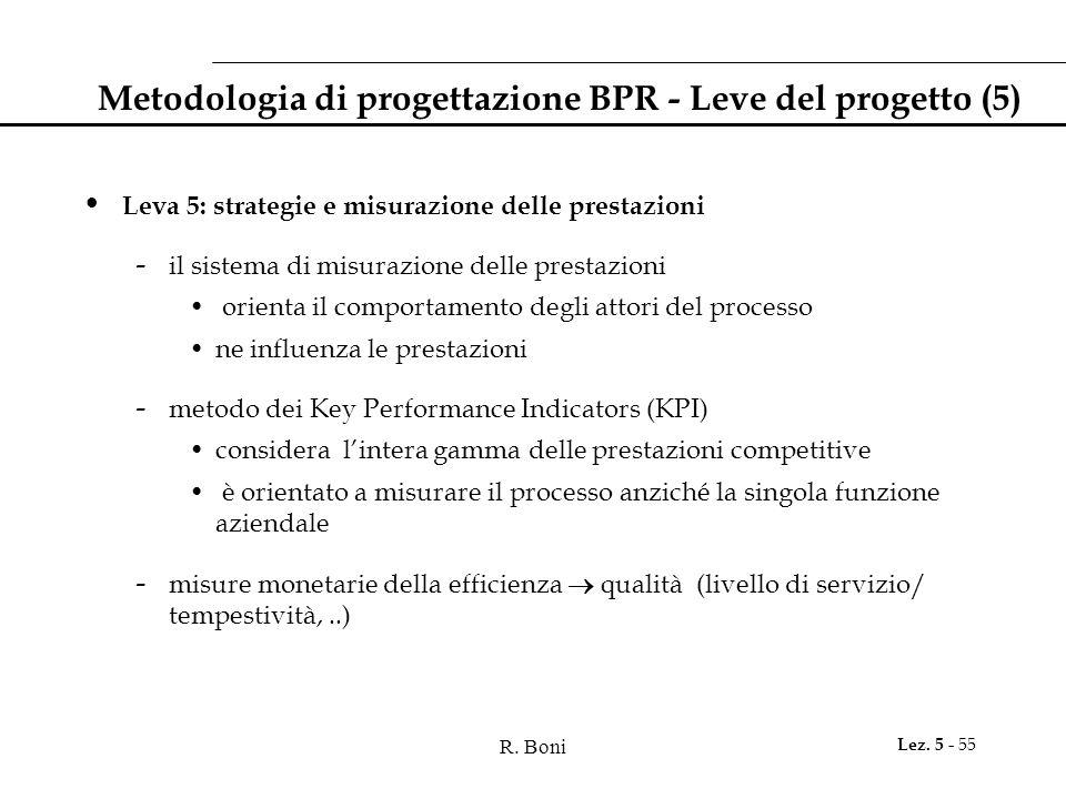 R. Boni Lez. 5 - 55 Metodologia di progettazione BPR - Leve del progetto (5) Leva 5: strategie e misurazione delle prestazioni - il sistema di misuraz
