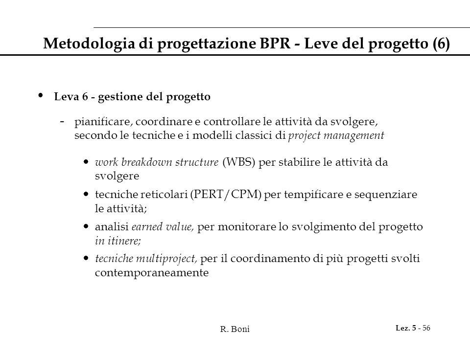 R. Boni Lez. 5 - 56 Metodologia di progettazione BPR - Leve del progetto (6) Leva 6 - gestione del progetto - pianificare, coordinare e controllare le
