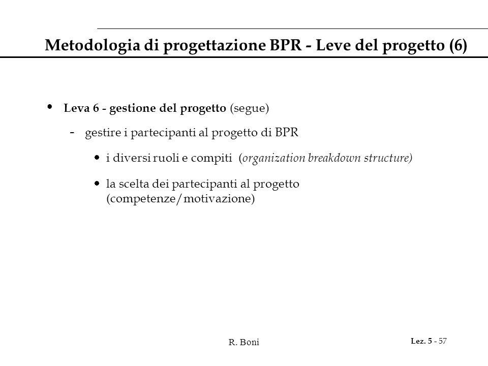 R. Boni Lez. 5 - 57 Metodologia di progettazione BPR - Leve del progetto (6) Leva 6 - gestione del progetto (segue) - gestire i partecipanti al proget