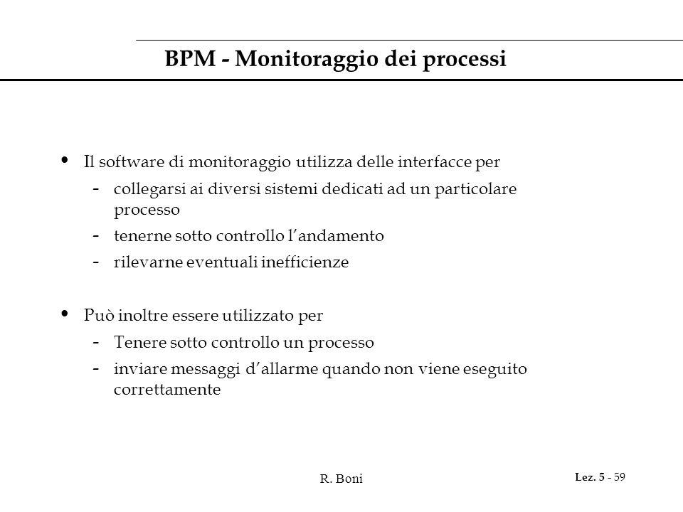 R. Boni Lez. 5 - 59 BPM - Monitoraggio dei processi Il software di monitoraggio utilizza delle interfacce per - collegarsi ai diversi sistemi dedicati