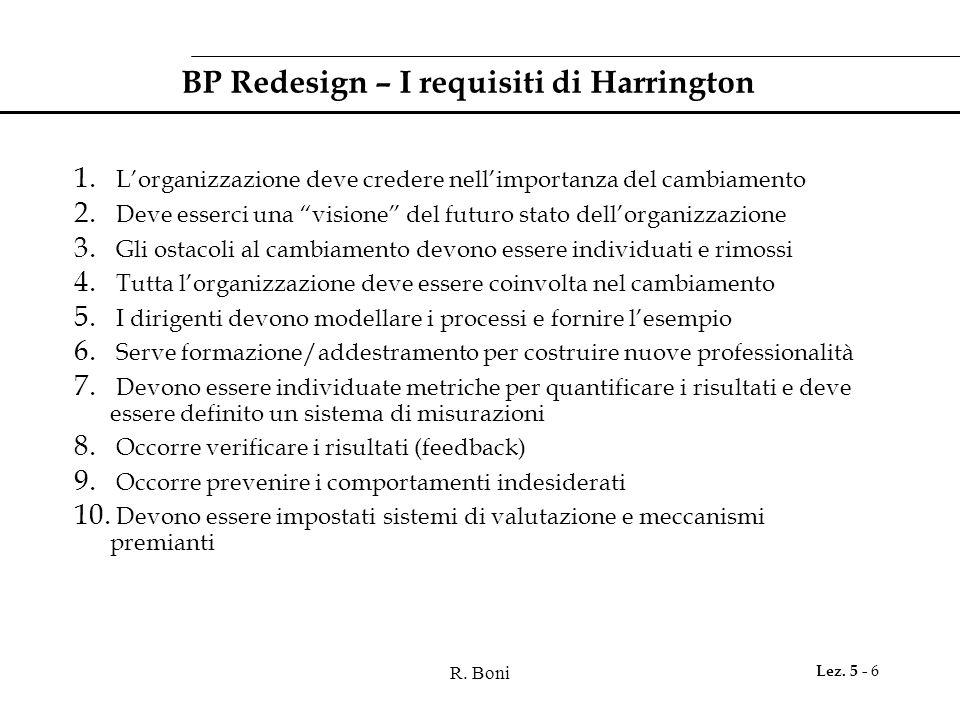 """R. Boni Lez. 5 - 6 BP Redesign – I requisiti di Harrington 1. L'organizzazione deve credere nell'importanza del cambiamento 2. Deve esserci una """"visio"""