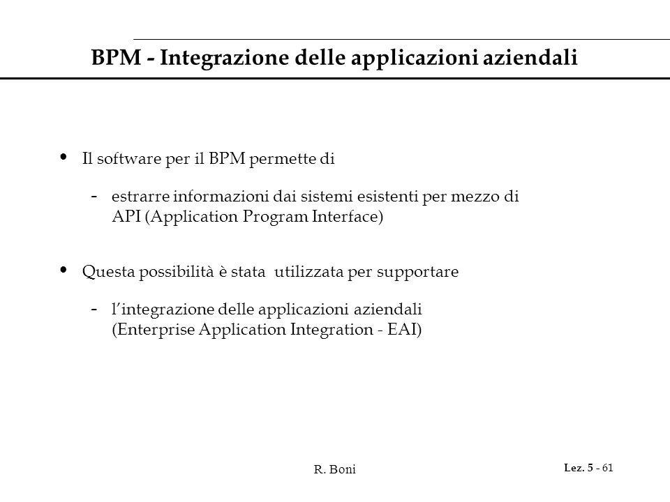 R. Boni Lez. 5 - 61 BPM - Integrazione delle applicazioni aziendali Il software per il BPM permette di - estrarre informazioni dai sistemi esistenti p