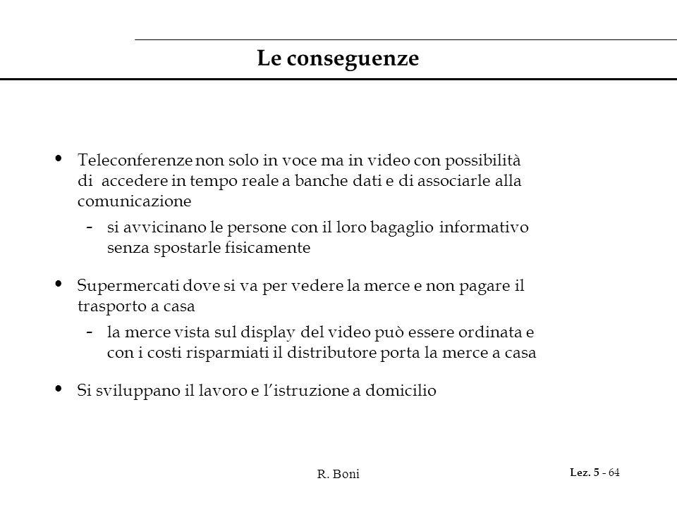 R. Boni Lez. 5 - 64 Le conseguenze Teleconferenze non solo in voce ma in video con possibilità di accedere in tempo reale a banche dati e di associarl