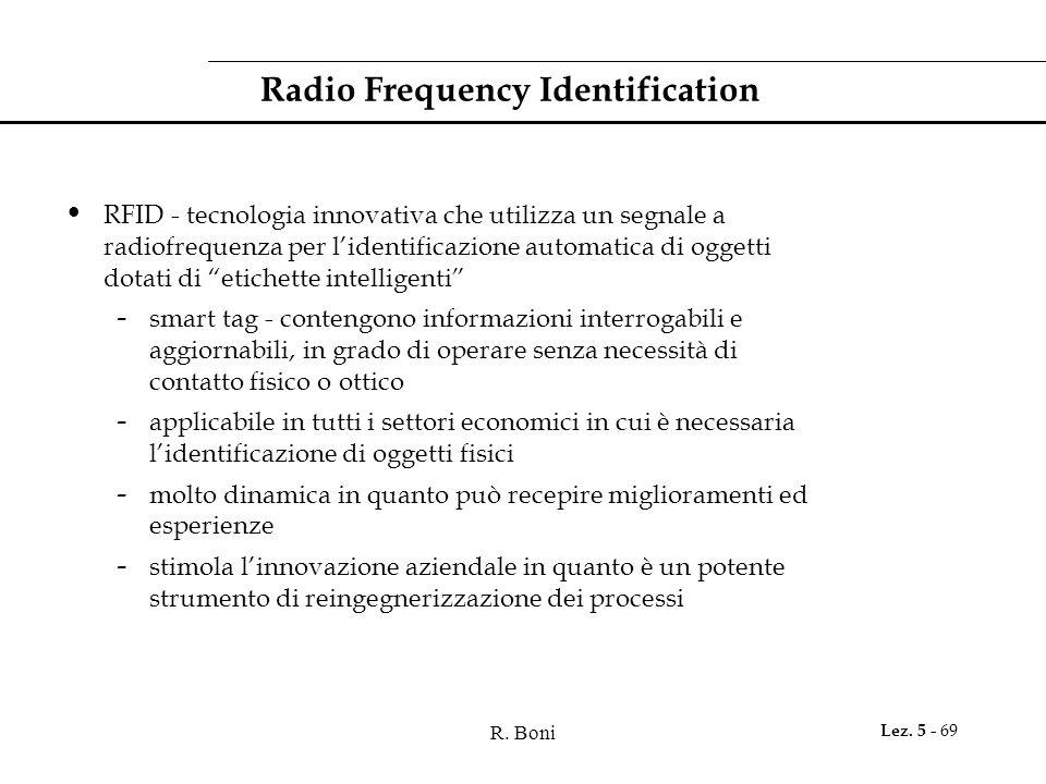 R. Boni Lez. 5 - 69 Radio Frequency Identification RFID - tecnologia innovativa che utilizza un segnale a radiofrequenza per l'identificazione automat