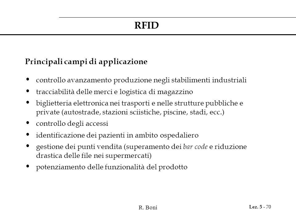 R. Boni Lez. 5 - 70 RFID Principali campi di applicazione controllo avanzamento produzione negli stabilimenti industriali tracciabilità delle merci e