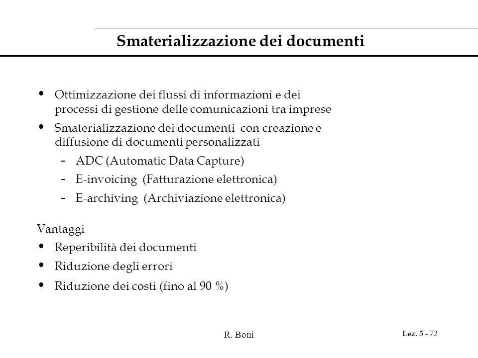 R. Boni Lez. 5 - 72 Smaterializzazione dei documenti Ottimizzazione dei flussi di informazioni e dei processi di gestione delle comunicazioni tra impr