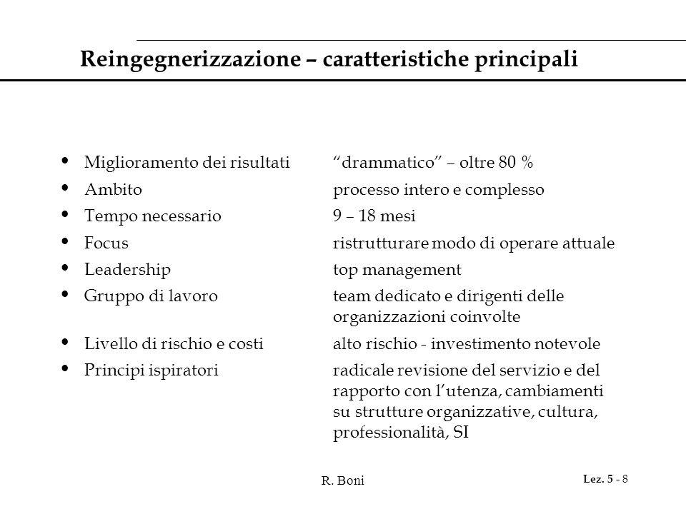 """R. Boni Lez. 5 - 8 Reingegnerizzazione – caratteristiche principali Miglioramento dei risultati""""drammatico"""" – oltre 80 % Ambitoprocesso intero e compl"""