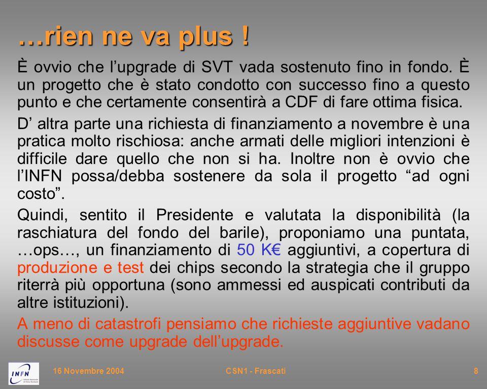 16 Novembre 2004CSN1 - Frascati8 …rien ne va plus ! È ovvio che l'upgrade di SVT vada sostenuto fino in fondo. È un progetto che è stato condotto con