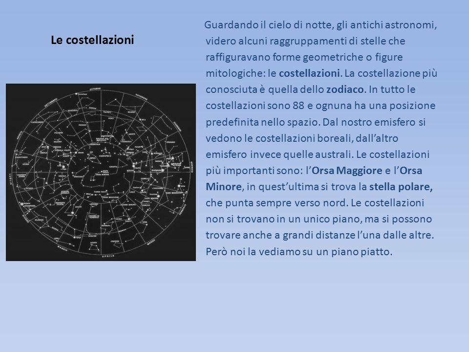 Le costellazioni Guardando il cielo di notte, gli antichi astronomi, videro alcuni raggruppamenti di stelle che raffiguravano forme geometriche o figure mitologiche: le costellazioni.