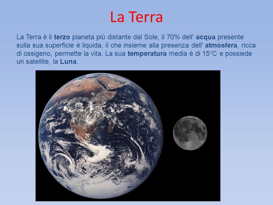 La Terra La Terra è il terzo pianeta più distante dal Sole, il 70% dell' acqua presente sulla sua superficie è liquida, il che insieme alla presenza d