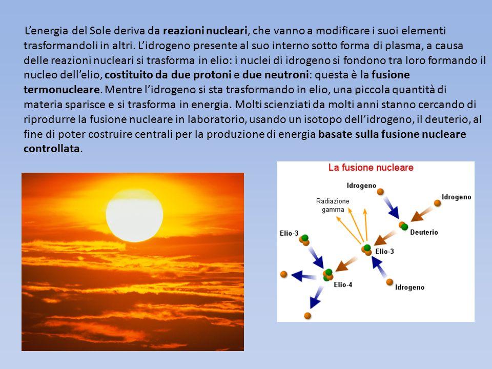 L'energia del Sole deriva da reazioni nucleari, che vanno a modificare i suoi elementi trasformandoli in altri. L'idrogeno presente al suo interno sot