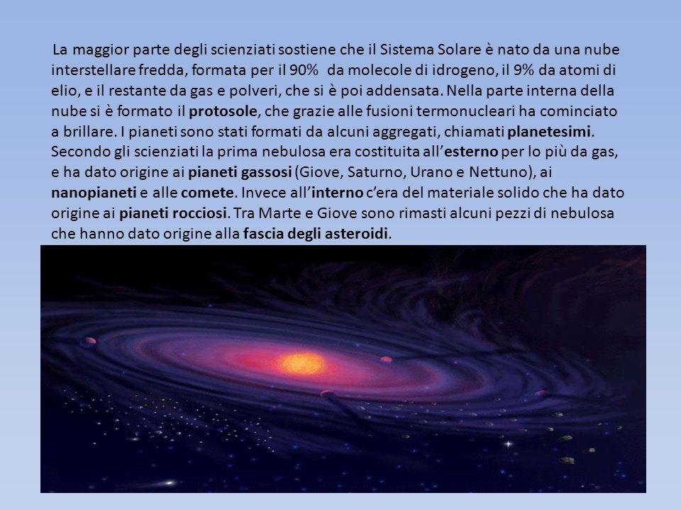 La maggior parte degli scienziati sostiene che il Sistema Solare è nato da una nube interstellare fredda, formata per il 90% da molecole di idrogeno,