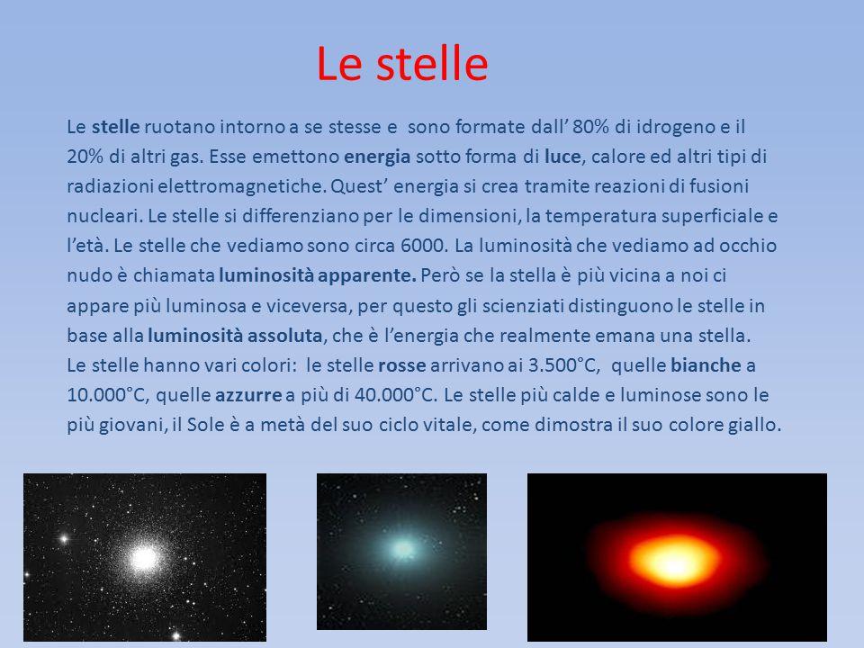 Le stelle Le stelle ruotano intorno a se stesse e sono formate dall' 80% di idrogeno e il 20% di altri gas. Esse emettono energia sotto forma di luce,