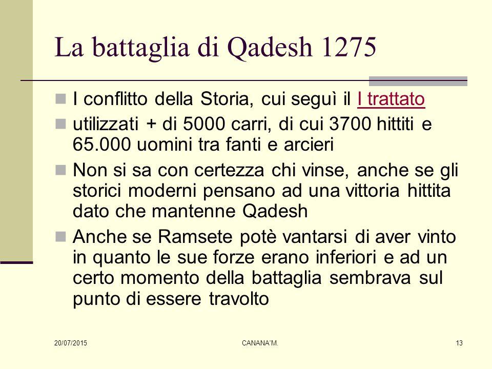 La battaglia di Qadesh 1275 I conflitto della Storia, cui seguì il I trattatoI trattato utilizzati + di 5000 carri, di cui 3700 hittiti e 65.000 uomin