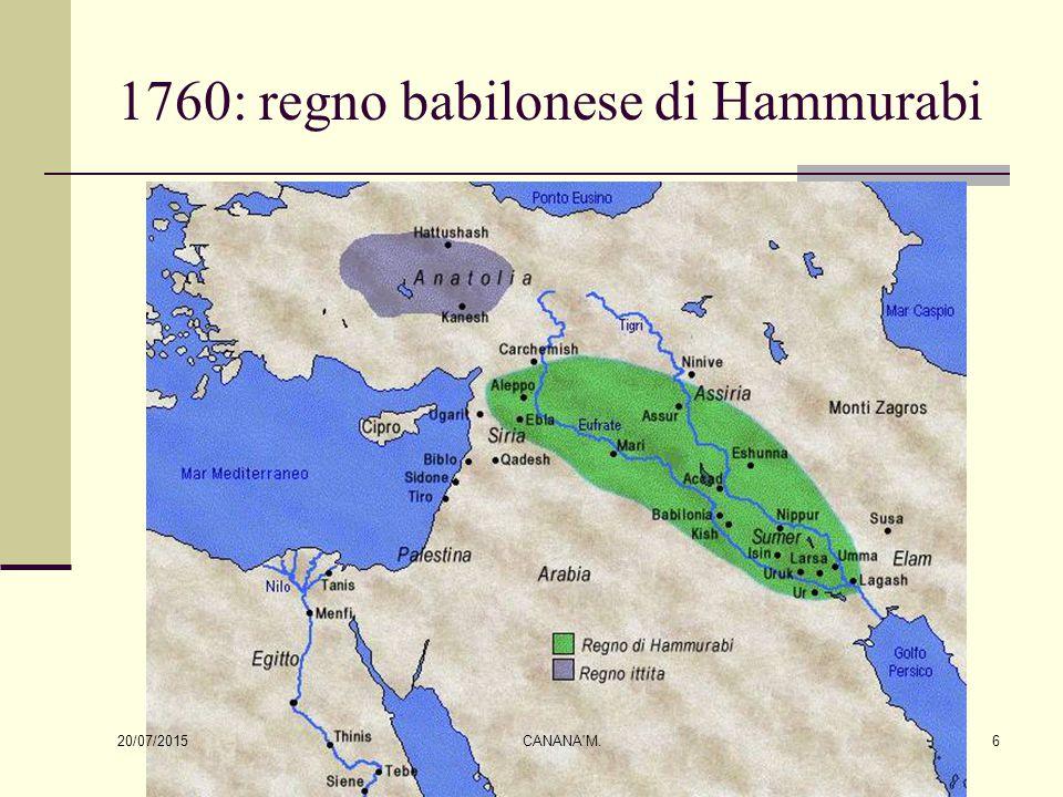 1760: regno babilonese di Hammurabi 20/07/2015 6CANANA'M.