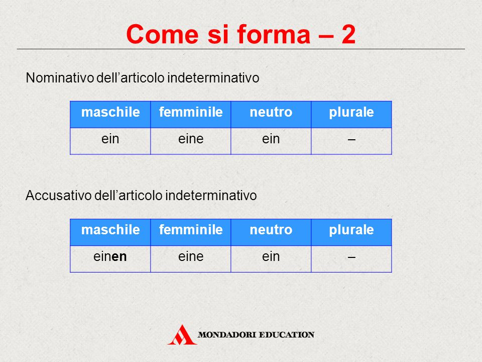 Come si forma – 2 Nominativo dell'articolo indeterminativo Accusativo dell'articolo indeterminativo maschilefemminileneutroplurale eineineein– maschil