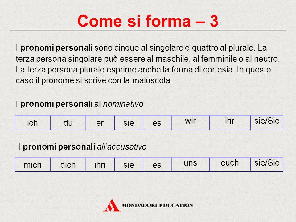 Come si forma – 3 I pronomi personali sono cinque al singolare e quattro al plurale. La terza persona singolare può essere al maschile, al femminile o