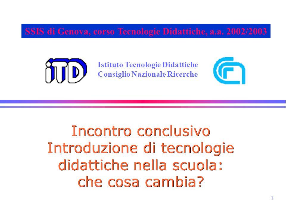 1 Istituto Tecnologie Didattiche Consiglio Nazionale Ricerche SSIS di Genova, corso Tecnologie Didattiche, a.a. 2002/2003 Incontro conclusivo Introduz