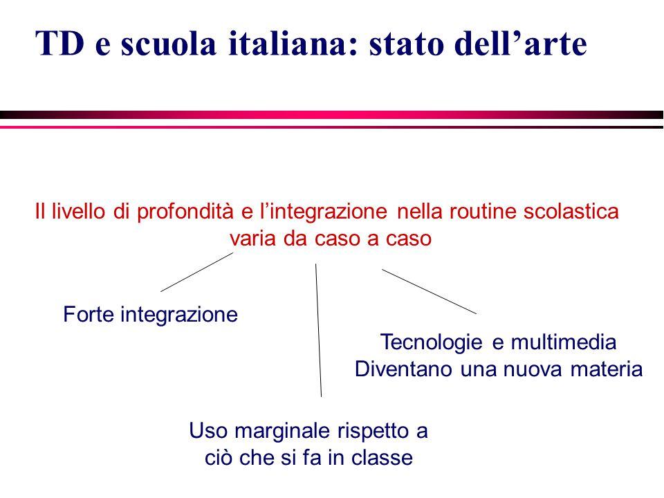 Il livello di profondità e l'integrazione nella routine scolastica varia da caso a caso TD e scuola italiana: stato dell'arte Forte integrazione Uso marginale rispetto a ciò che si fa in classe Tecnologie e multimedia Diventano una nuova materia